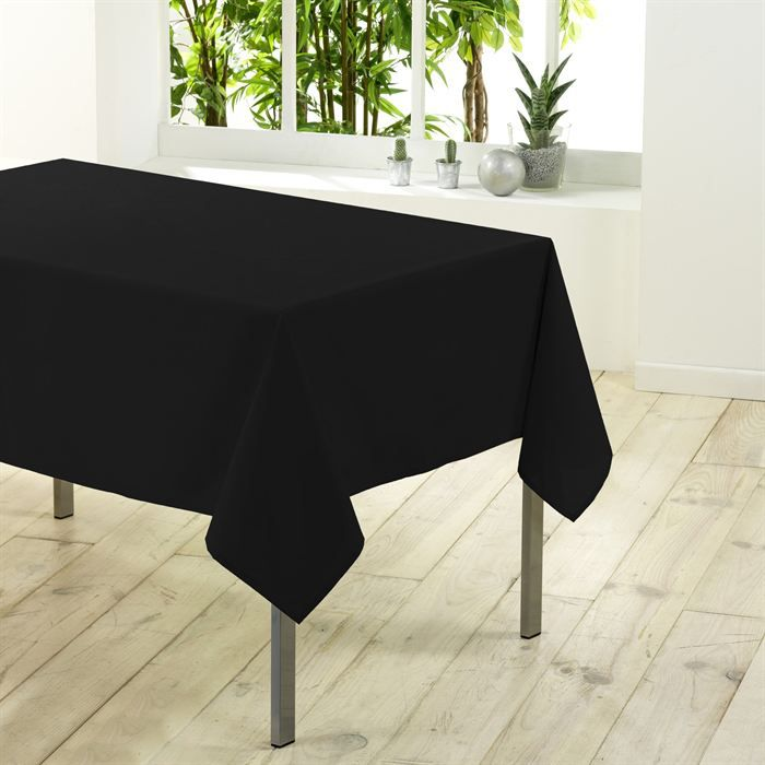 nappe rectangulaire unie en 200 cm essentiel noir achat vente nappe de table cdiscount. Black Bedroom Furniture Sets. Home Design Ideas