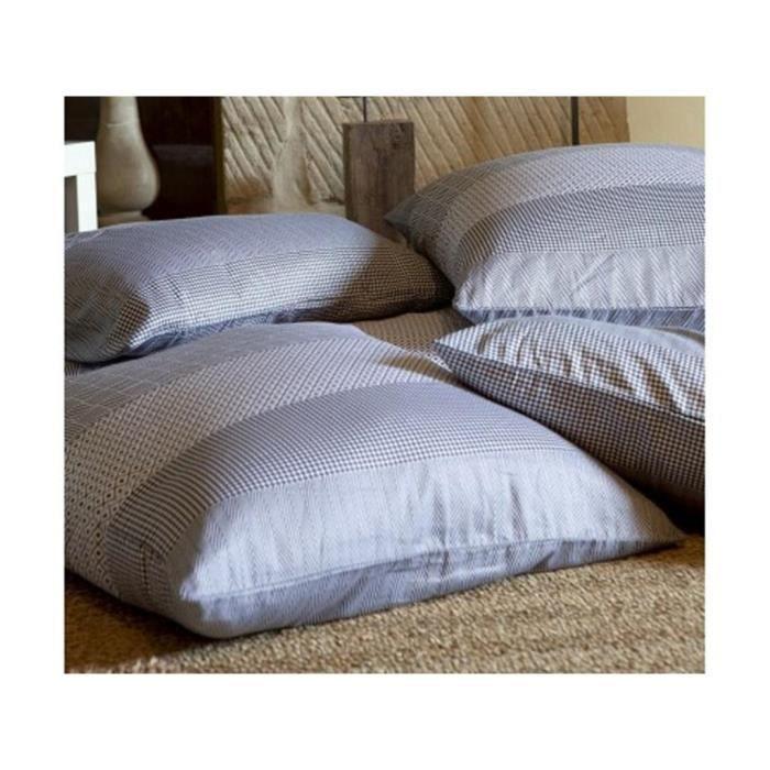 taie d 39 oreiller 50x70 cm manhattan blanc graphite achat. Black Bedroom Furniture Sets. Home Design Ideas