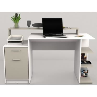 bureau avec rangements zacharie blanc et taupe achat vente bureau bureau avec rangements. Black Bedroom Furniture Sets. Home Design Ideas