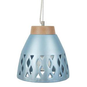 PÓVOA-BI Lustre - suspension céramique, diam?tre 25,5 cm,trous losange, bleu argent, top bois