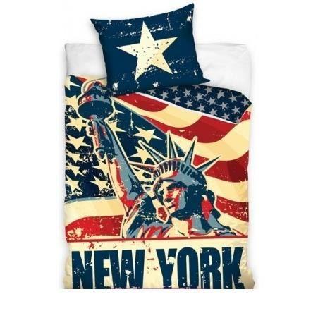 parure de lit new york 160 x 200 achat vente parure de drap cdiscount. Black Bedroom Furniture Sets. Home Design Ideas