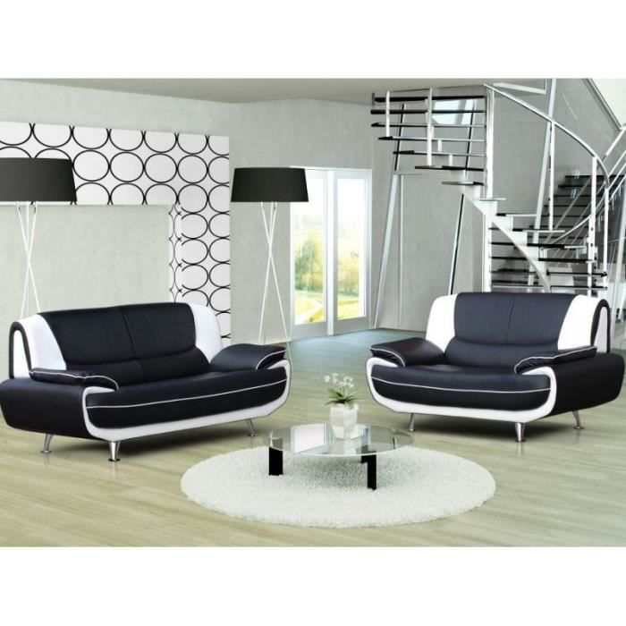 ensemble canap 3 2 places noir et blanc design achat vente canap sofa divan simili. Black Bedroom Furniture Sets. Home Design Ideas