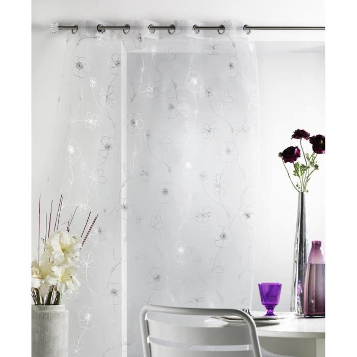 rideau voilage silver 140 x 240 cm illets blanc achat. Black Bedroom Furniture Sets. Home Design Ideas