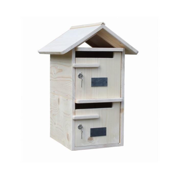 boite aux lettres bois double toit bois massif achat. Black Bedroom Furniture Sets. Home Design Ideas