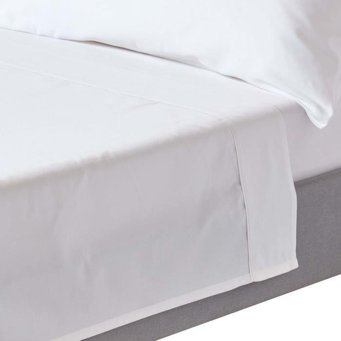 drap plat uni 100 coton gyptien bio 400 fils blanc 178 x 255 cm achat vente drap plat. Black Bedroom Furniture Sets. Home Design Ideas