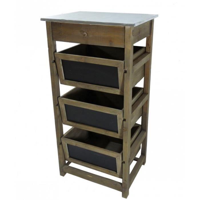 colonne tiroirs en bois zinc achat vente petit meuble rangement colonne tiroirs en. Black Bedroom Furniture Sets. Home Design Ideas