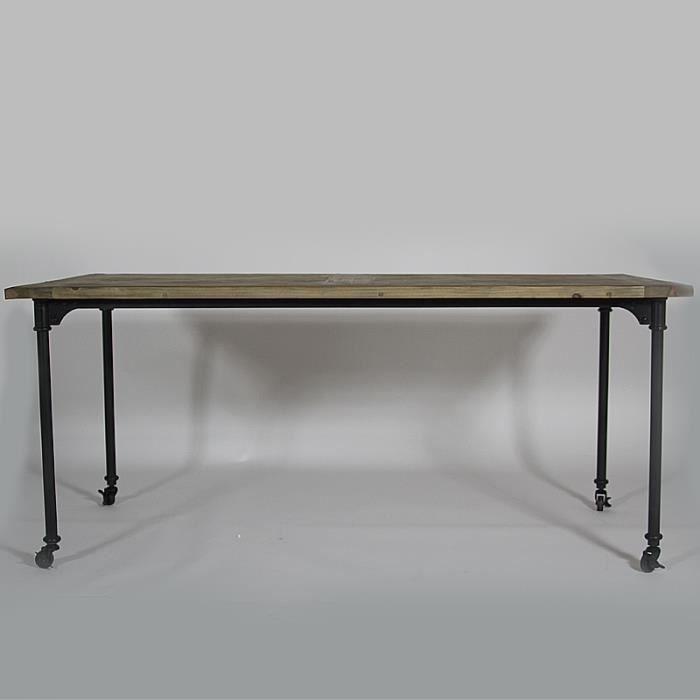 Table de repas authentiq pied metal sur roulett achat - Table pied metal ...