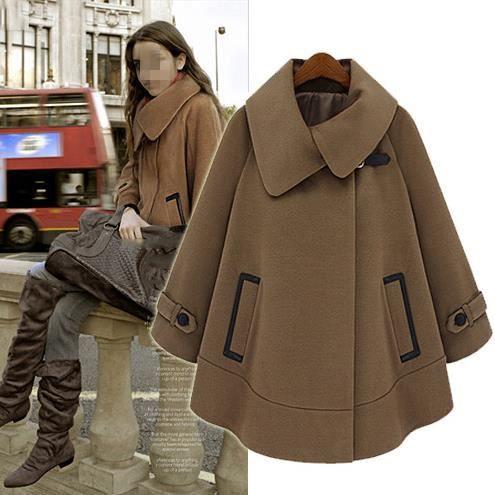 caban cape en laine mi saison automne hiver pour femme bruns achat vente manteau caban. Black Bedroom Furniture Sets. Home Design Ideas