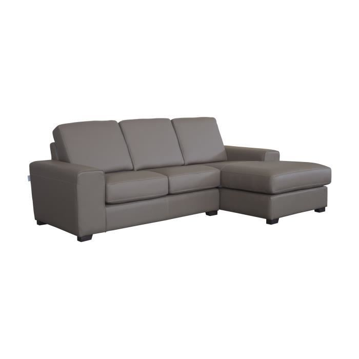 canap d 39 angle en cuir 4 places dossier et coussins d 39 assise d houssables sanza taupedroit. Black Bedroom Furniture Sets. Home Design Ideas