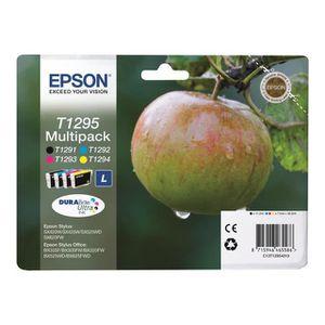 EPSON Pack de 4 cartouche d'encre V - Noir et tricolore - haute capacité11,2ml- 3 x 7ml - blister avec alarme
