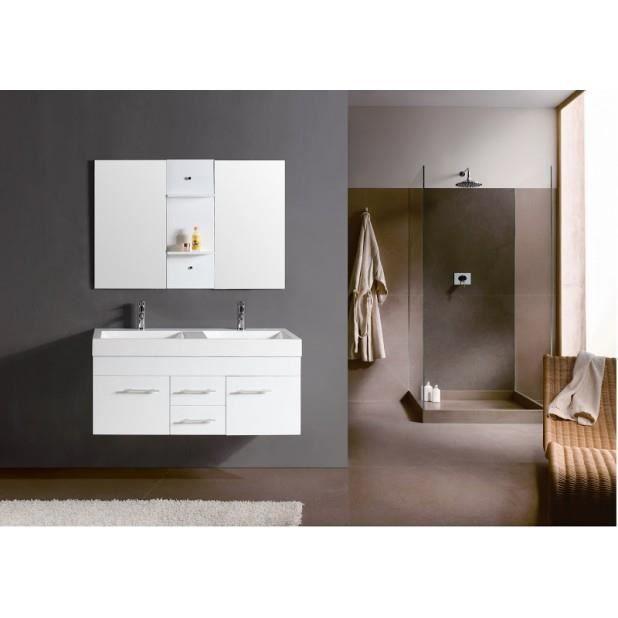 magnifique meuble salle de bain ch ne complet blanc maori meuble 2 vasques 2 miroirs achat. Black Bedroom Furniture Sets. Home Design Ideas