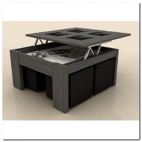 Table basse plateau relevable xl gris 4 poufs incrustables noirs achat ve - Table basse relevable cdiscount ...