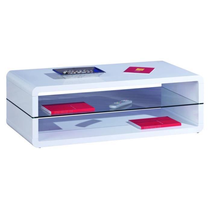 Table basse laqu blanc et plateau en verre achat vente table basse table - Table basse en verre blanc ...