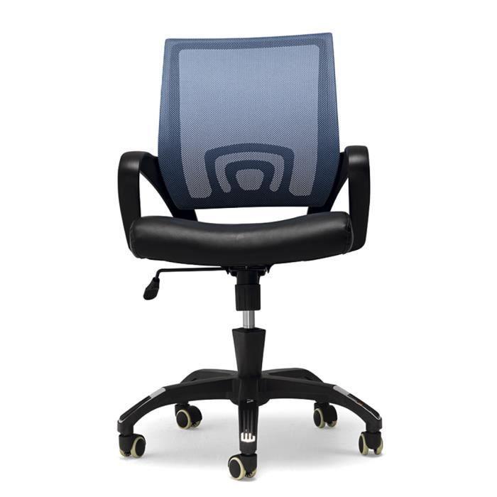 Chaise de bureau en cuirette bleu dimensions achat - Chaise de bureau bleu ...