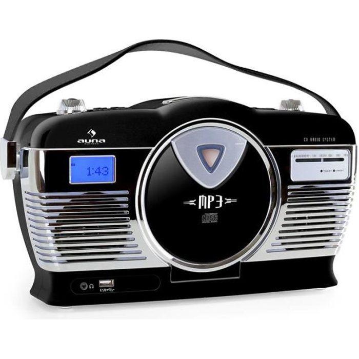 auna mcp 69 poste radio vintage avec lecteur cd et usb pour mp3 poign e utilisation sur. Black Bedroom Furniture Sets. Home Design Ideas