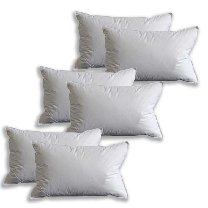 oreiller lot de 6 ultra gonflant et moelleux en plumes de canard blanc 50 x 75 cm achat. Black Bedroom Furniture Sets. Home Design Ideas