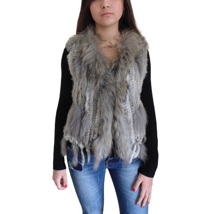 Gilet fourrure lapin tricot col racoon gris clair achat vente gilet cardigan gilet - Gilet avec fourrure ...