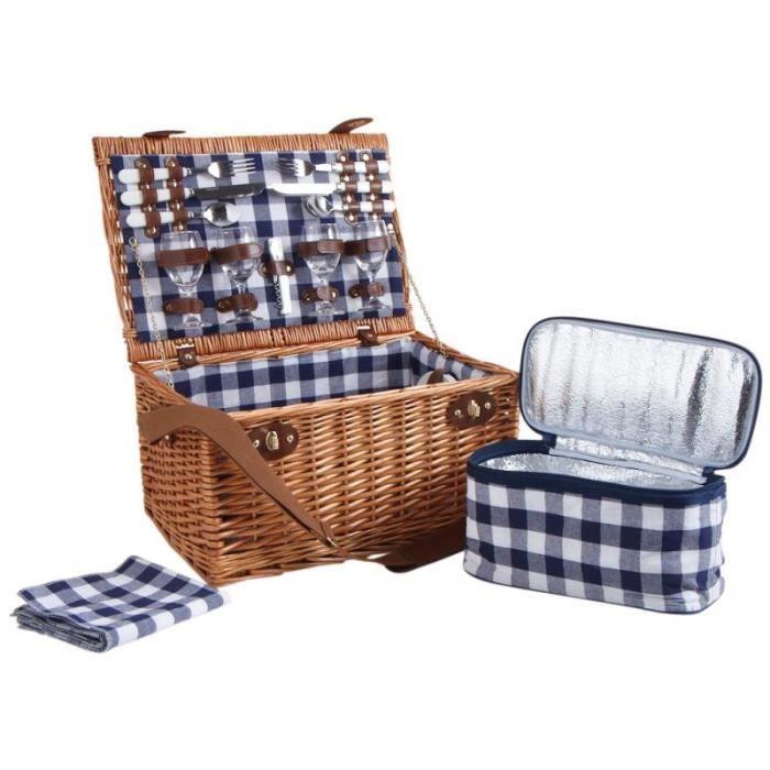 panier pique nique isotherme en osier 4 couverts achat vente barbecue panier pique nique. Black Bedroom Furniture Sets. Home Design Ideas