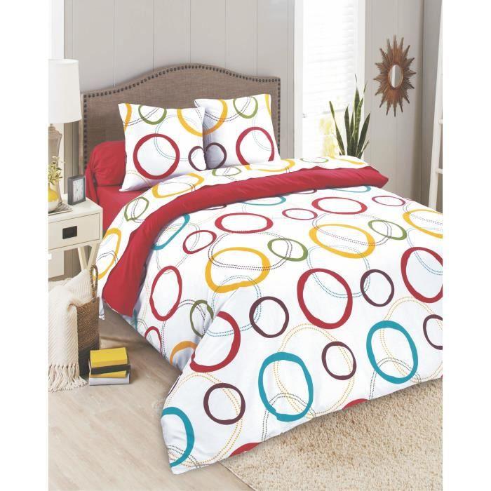 parure de drap 4 pi ces 100 coton spirales achat vente parure de drap cdiscount. Black Bedroom Furniture Sets. Home Design Ideas