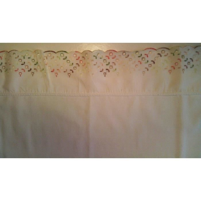 drap blanc galon broder de fleurs lit b b achat vente drap plat cdiscount. Black Bedroom Furniture Sets. Home Design Ideas