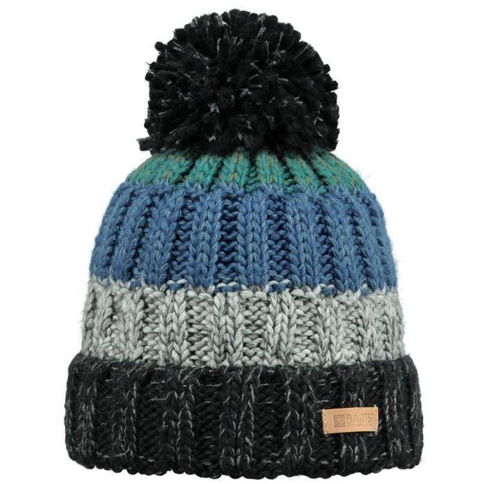 Snap Bonnet pompon en maille gris bleu Modèle Homme Barts TU ... debfa332747