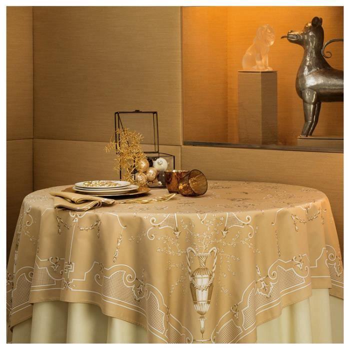 Nappe rectangulaire 170x310 cm montaigne beauvill beige achat vente nappe de table - Nappe de table rectangulaire ...