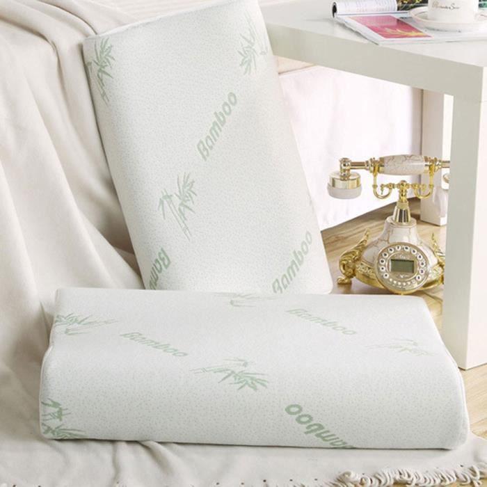 oreiller coussin 2pcs bambou fibre m moire mousse t te cou achat vente oreiller cdiscount. Black Bedroom Furniture Sets. Home Design Ideas