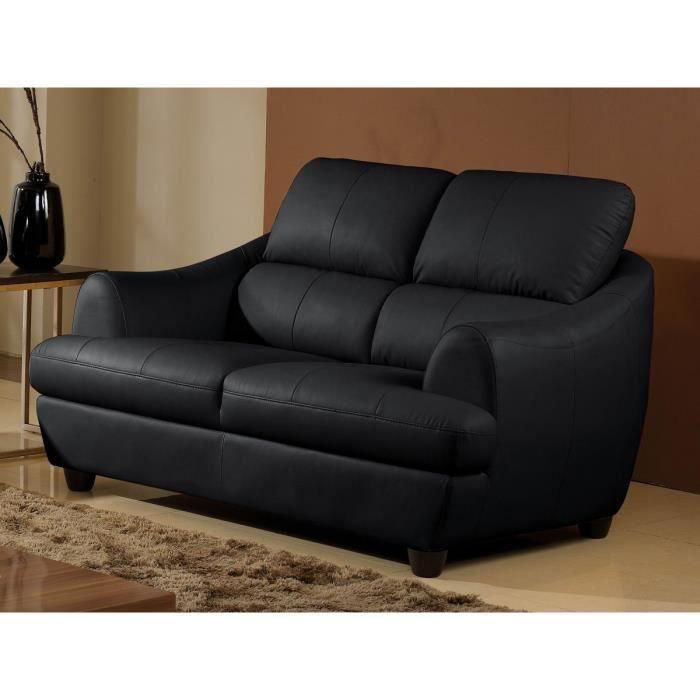 Canap 2 places luxe mona cuir noir design achat vente canap sofa di - Canape cuir luxe design ...