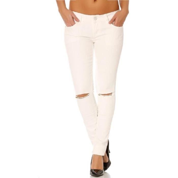 Jean slim trou blanc blanc blanc achat vente jeans - Jean blanc troue ...