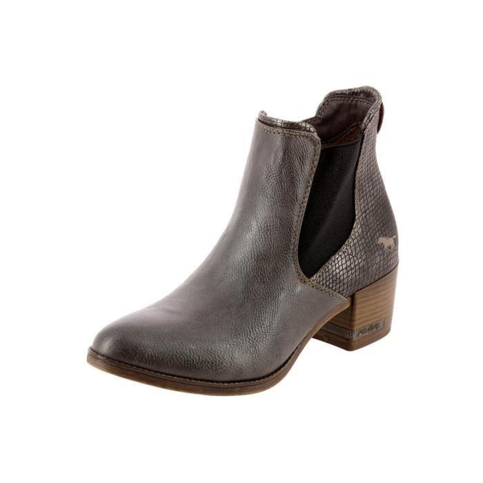 bottines low boots 1230501 femme mustang 1230501 gris. Black Bedroom Furniture Sets. Home Design Ideas
