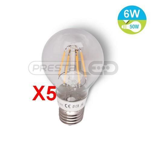 5 ampoule lampe led e27 filament 6w blanc chaud achat vente ampoule led cdiscount. Black Bedroom Furniture Sets. Home Design Ideas