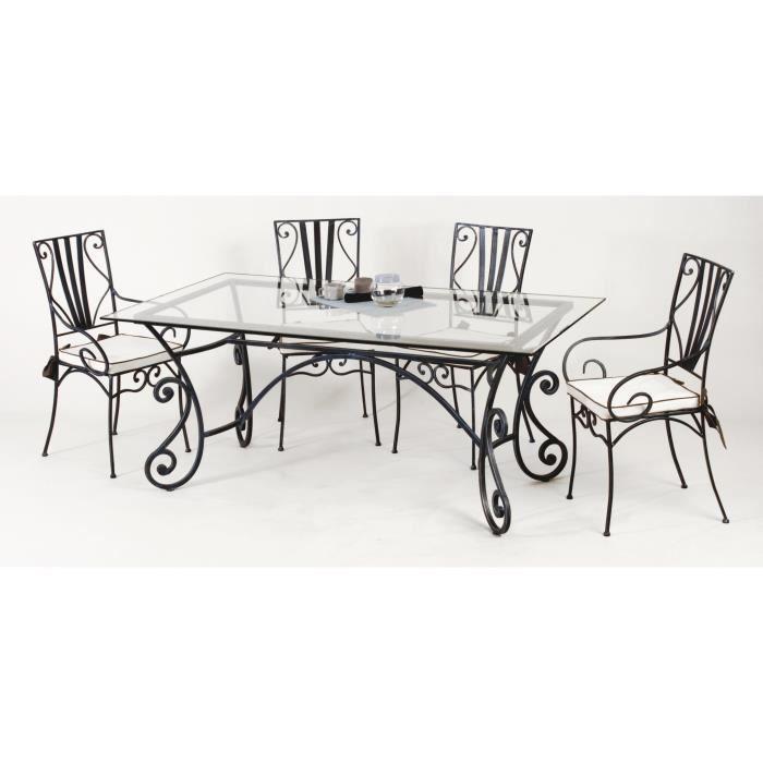 Table et chaises fer forg marylene bleu gris 100 x 200 cm for Table en verre fer forge et chaises