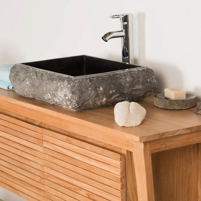 Vasque poser rectangle en pierre marbre naple achat for Vasque exterieur pierre