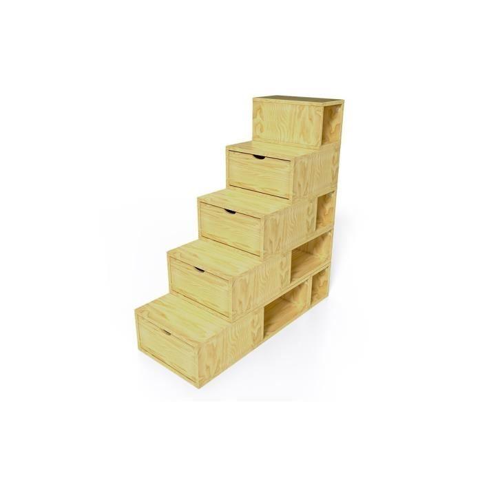 Escalier cube de rangement hauteur 125 cm achat vente for Escalier meuble rangement