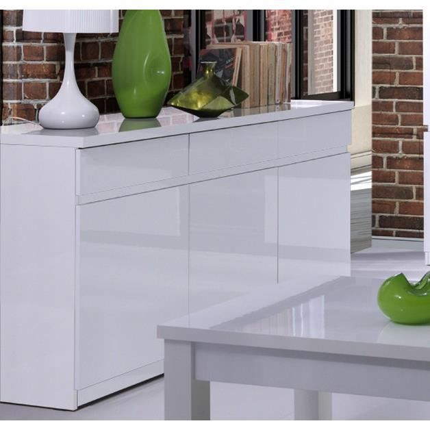 bahut blanc brillant 3 portes soyeux meuble house achat vente buffet bahut bahut blanc. Black Bedroom Furniture Sets. Home Design Ideas