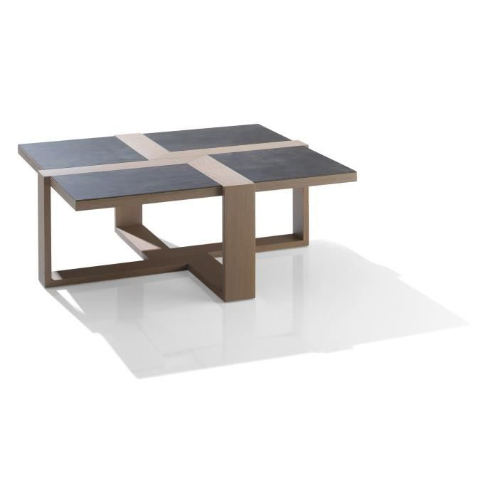 Table basse carr e c ramie achat vente table basse for Table carree contemporaine