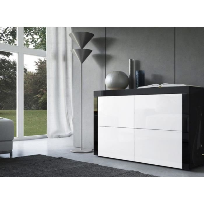 commode design laqu e noir et blanc achat vente. Black Bedroom Furniture Sets. Home Design Ideas