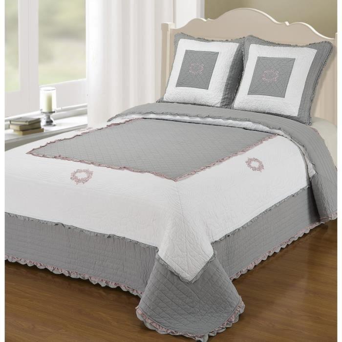 couvre lit boutis 2 places diane diane gris achat. Black Bedroom Furniture Sets. Home Design Ideas