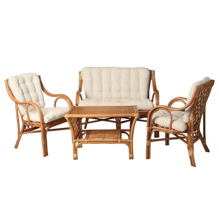 Salon complet en rotin avec coussins en fibre achat for Ensemble de salon complet