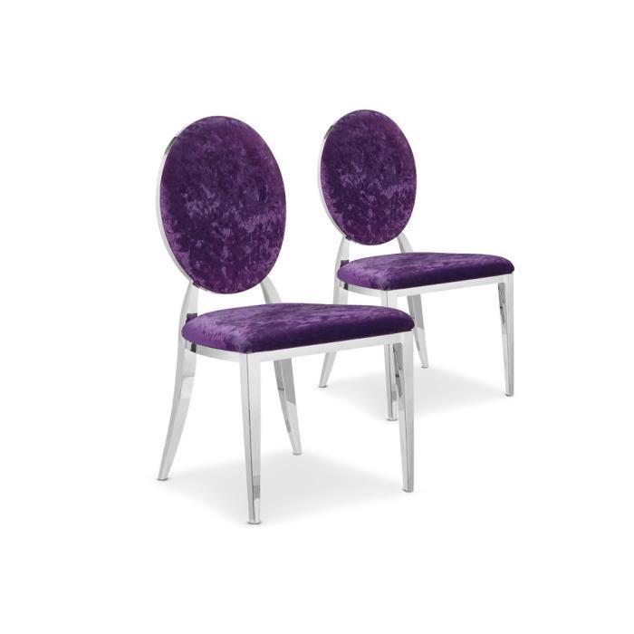lot de 2 chaises design velours violet sydney achat vente chaise velours inox cdiscount. Black Bedroom Furniture Sets. Home Design Ideas