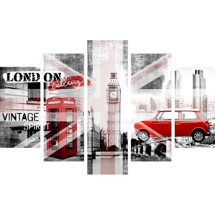 London multi tableaux d co 100x150cm achat vente tableau toile soldes - Deco de chambre london ...