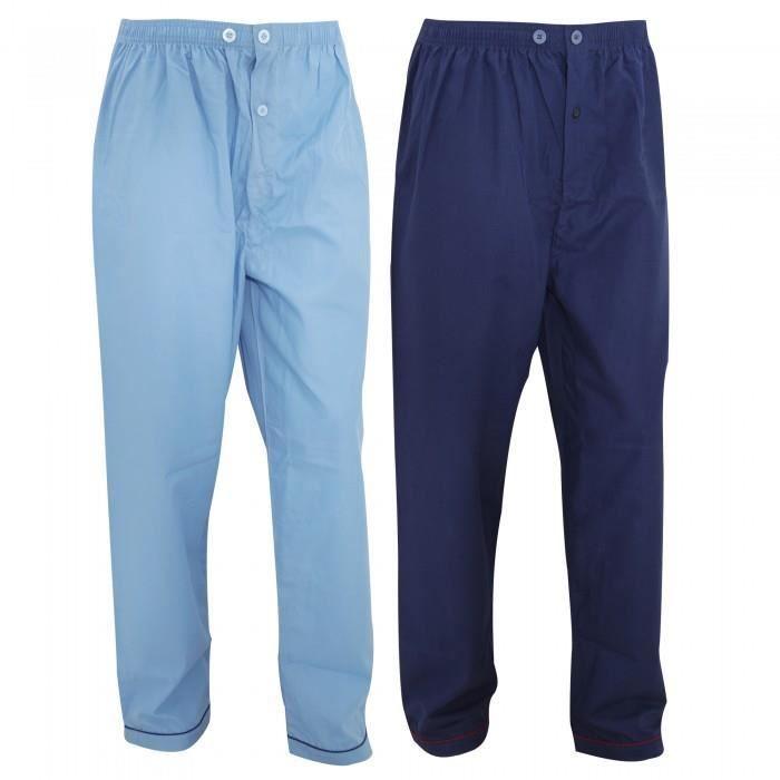 bas de pyjama lot de 2 homme bleu marine bleu achat. Black Bedroom Furniture Sets. Home Design Ideas