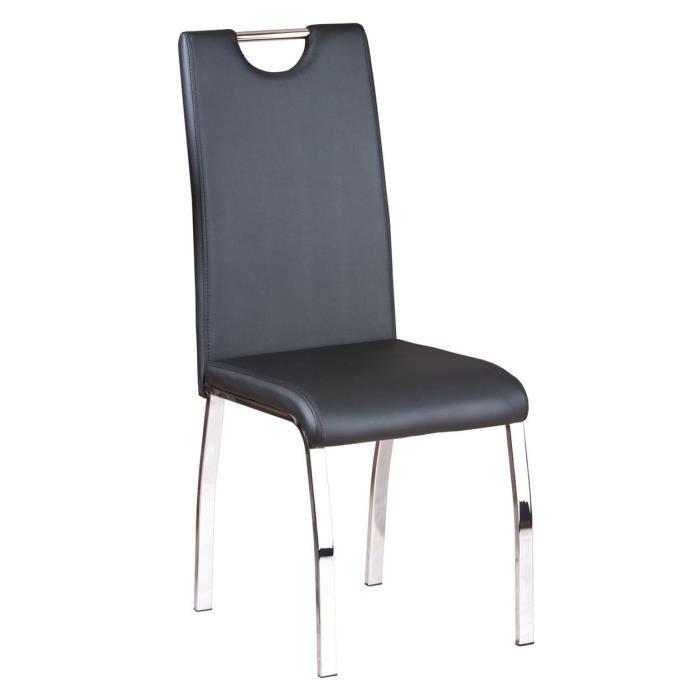 Lot de 2 chaises de table manger noir en cuir 44 x 54 x for Chaises en cuir noir