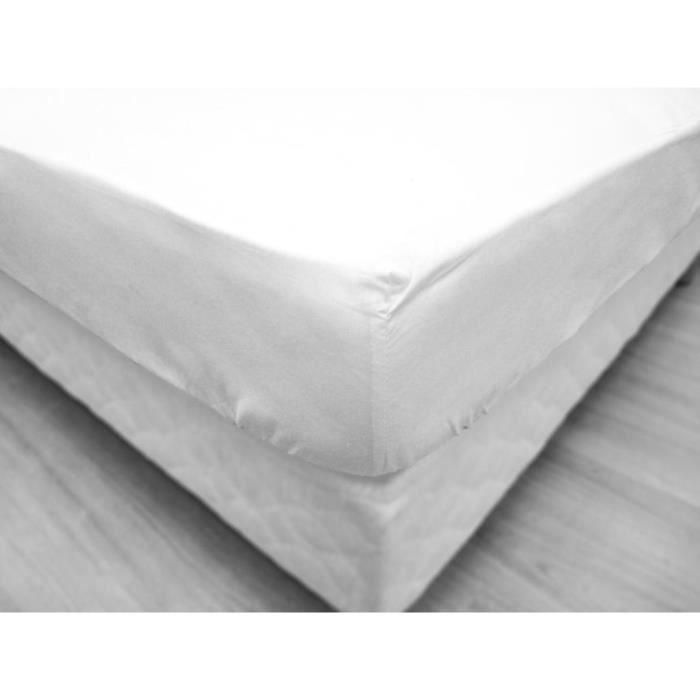 Drap housse epure 160x200 cm blanc achat vente drap for Draps housse 160x200