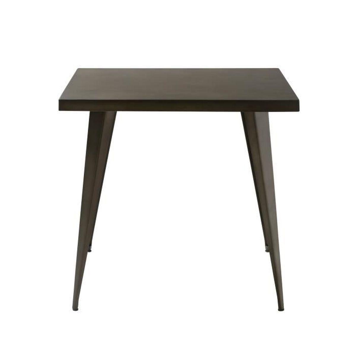 Table de repas indus carr e 80 cm achat vente table a for Table carree 8 couverts