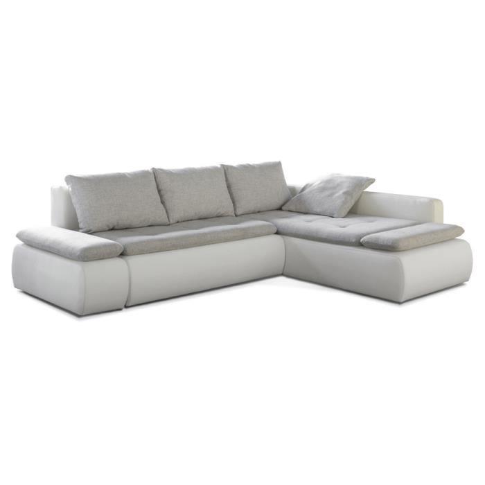 canap d 39 angle avec une assise en tissu gris clair et une structure en pu blanc dimensions 3d. Black Bedroom Furniture Sets. Home Design Ideas