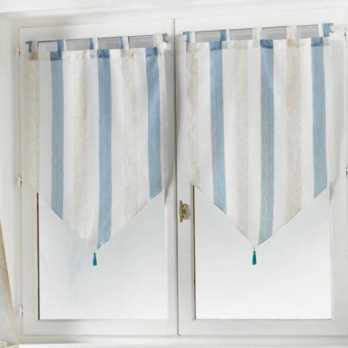 2 voilages droit pompons eole bleu 60x120 achat vente rideau voilage cdiscount. Black Bedroom Furniture Sets. Home Design Ideas