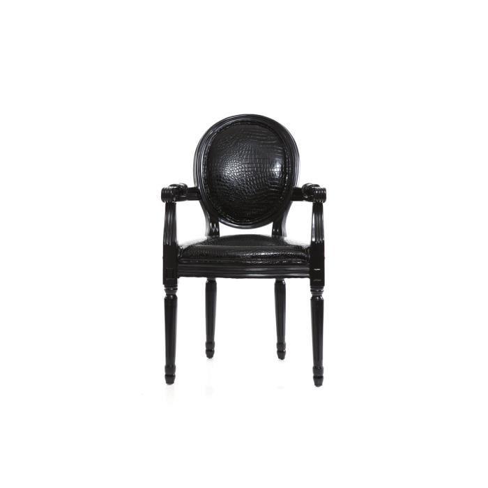 miliboo fauteuil baroque louis xvi noir medai achat vente fauteuil noir cdiscount. Black Bedroom Furniture Sets. Home Design Ideas