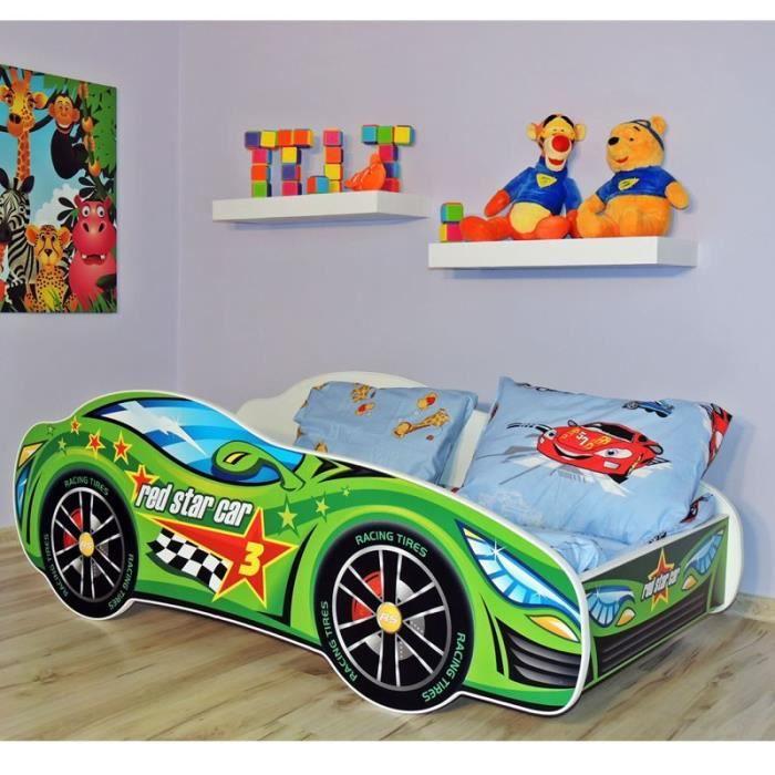 lit enfant sommier matelas voiture formule 1 vert achat vente lit complet soldes d t. Black Bedroom Furniture Sets. Home Design Ideas