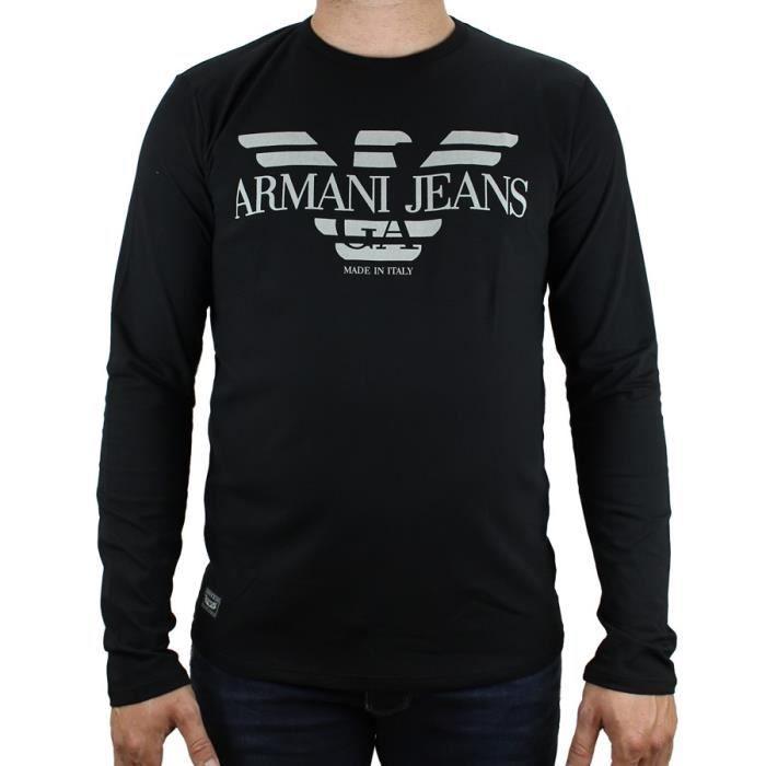 tee shirt armani jeans pour homme manches longues b6h45 noir noir noir achat vente t shirt. Black Bedroom Furniture Sets. Home Design Ideas